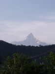 Machapuchare in the clouds, the house mountain from Pokhara